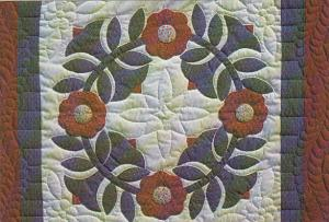 Handcrafted Quilt Rose Wreath Penn Dutch Cottage Crafts Lancaster Pennsylvania