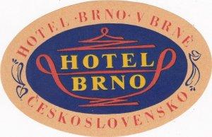 Czechoslovakia Brno Hotel Brno Vintage Luggage Label sk4407