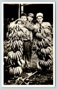 RPPC Spanish? Field Workers Barely Taller Than Banana Bunches~Orcajo~Dayton~1928