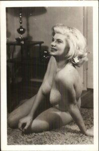 Nude - Sexy Blond Woman Large Breasts Real Photo Postcard