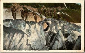 Ice Bridge, Climbers on Nisqually Glacier Rainer Natl Park WA Vtg Postcard R05