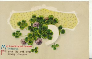 Birthday Greetings Postcard - With Four Leaf Clovers - Ref TZ7522