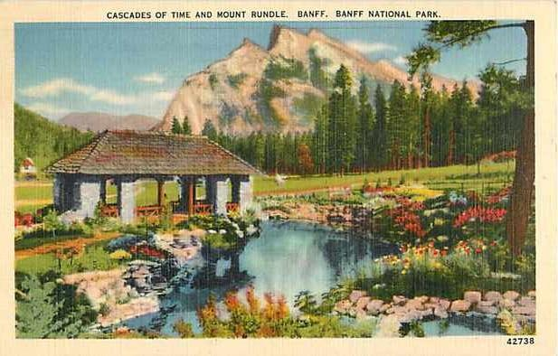 Linen Card of Cascades of Times & Mt. Rundle Banff National