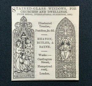 1862 Advert, Heaton, Butler & Bayne, Hampstead Rd London, Stained Glass Windows