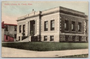 St CLoud Minnesota~Handcolored Carnegie Library~Neighbor's Lean-To Shed c1910 PC