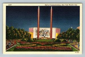 1939 New York World's Fair - Hall of Communications at Night - Linen Postcard