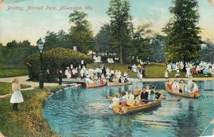 Milwaukee WI~Victorian Ladies & Gents Boating Mitchell Park~Girl in Pink~1910 PC