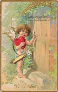 Valentine~Cupid Knocks on Cottage Door~Heart in Hand~Gold Leaf Emboss~Winsch