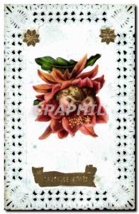 Old Postcard Fancy Embroidery Flower Children