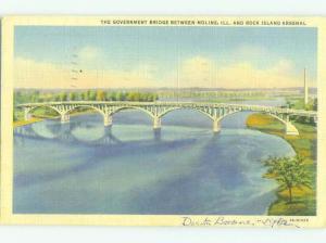 Linen BRIDGE SCENE Rock Island And Moline Illinois IL HJ1014