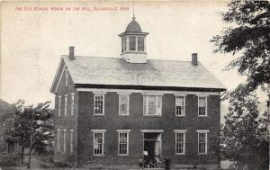 E93/ Salineville Columbiana Co Ohio Postcard 1910 Old School House On Hill 5