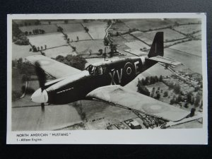 Aircraft NORTH AMERICAN MUSTANG XVE P51 Allison Engine c1939/1945 RP Postcard