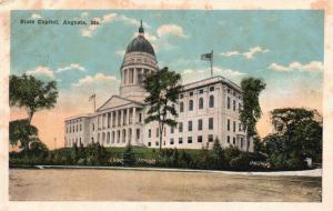 Augusta, Maine, ME, State Capitol, 1917 White Border Vintage Postcard g647