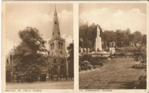 Bedford Saint Paul's Church and The Embankment Gardens Sepia tone images Vintage