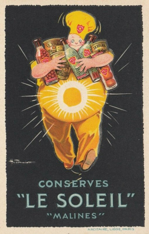 Conserves LE SOLEIL Malines , Poster Art Ad , 1930s