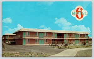 Redlands California~Motel 6 & Logo~Arizona Street~1960s Cars~Postcard