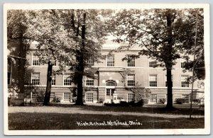 Mt Mount Gilead Ohio~Art Deco High School Behind Tall Trees~RPPC 1940s Postcard