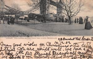 The Tower Bridge from the Tower Promenade, London, England, Early Postcard, Used