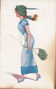 Lady With Old Pixie Celtic Hat & String Handbag Celesque Series Fashion Postcard
