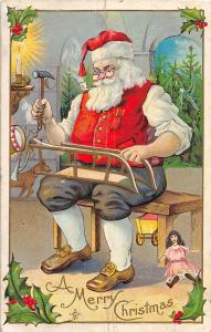 F25/ Santa Claus Merry Christmas Postcard 1911 Hammer Build Sled 11