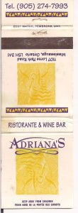 Matchbook Cover ! Adriana's Ristorante & Wine Bar, Mississauga, Ontario !