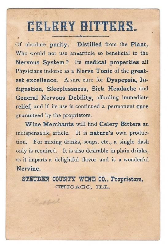Victorian Trade Card Steuben County Wine Co Chicago Celery Bitters Advertising