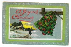 Burnhams to Westfield, New York 1913 used Embossed Christmas Postcard