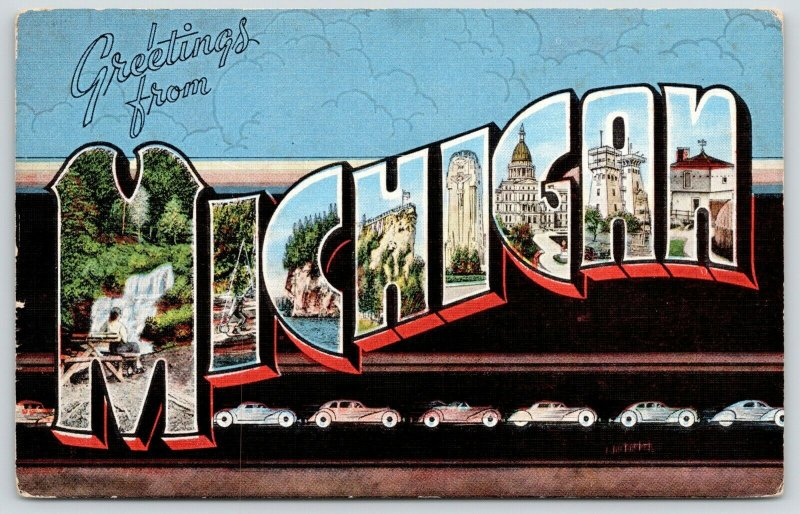 Michigan~State Large Letter Linen Postcard~Cars Roll Off Assembly Line~1940s