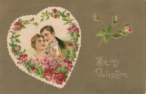 Be My VALENTINE, PU-1907; Couple in Rose outlined Heart