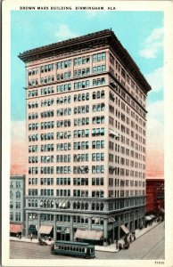 Postcard AL Birmingham Brown Marx Building - Streetcar, Shops, Old Car 1920s L14