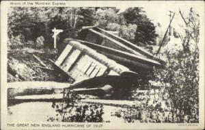 Montreal - RR Train Wreck 1938 Hurricane Postcard