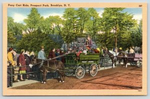 Brooklyn NY~Ticket Riders Exit Only~Pony Carts in Prospect Park~Linen~1940s PC