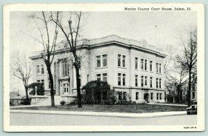 Salem Illinois~Marion County Courthouse & Neighborhood~1929 B&W Postcard