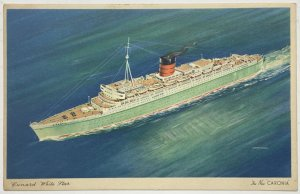 Old Vintage White Border Postcard Cunard White Star Line The New Cronia Unused