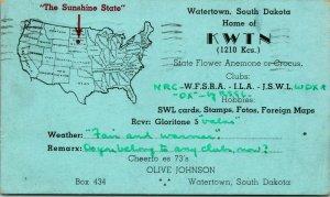 Vtg Advertising Postcard 1939 Watertown SD South Dakota Home of KWTN Radio