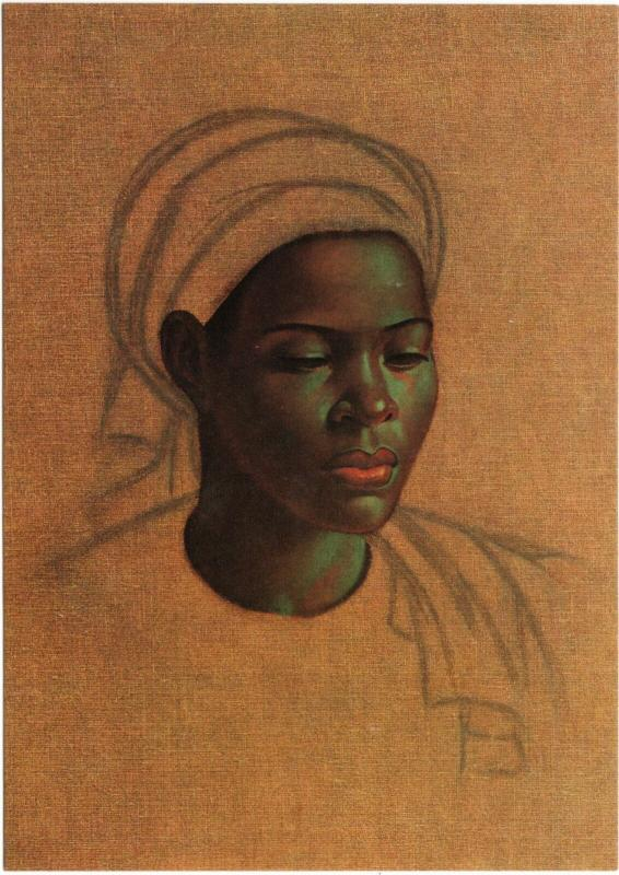 Basuto Girl by Vladimir Tretchikoff African Art Postcard