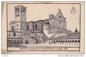 Italy - Perugia - Assisi Chiesa S Franseco drawing ( Galli 1923 ) 00s