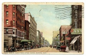 Memphis Tennessee Postcard Main Street North Horse Carriages Store Fronts #75893