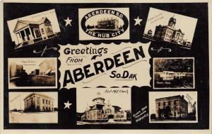 Aberdeen South Dakota~Main Street-Library-Tacoma Park-Courthouse~c1910 RPPC