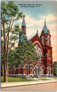 Saratoga Springs, New York Postcard Methodist Episcopal Church Linen c1940s