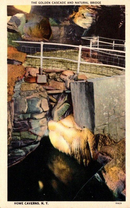 New York Howe Caverns The Golden Cascade and Natural Bridge 1954