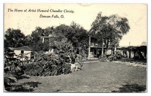 1917 Howard Chandler Christy Home, Duncan Falls, OH Postcard *5E4