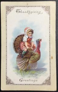 Unused Postcard Thanksgiving Lightly Printed address Girl riding Turkey  LB