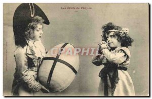 Old Postcard Fantasy Children Easter Eggs