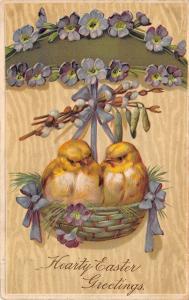 PFB Easter~2 Fat Chicks in Hanging Green Wicker Basket~Purple Flowers~Emb~#6721