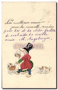 Old Postcard Fantasy Illustrator Child Dog