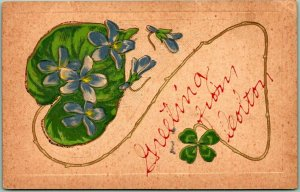 1910s COLTON California Embossed Greetings Postcard / Green Clover - Unused