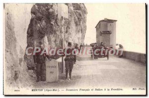 Postcard Menton Old French Customs And The Italian border Automotive