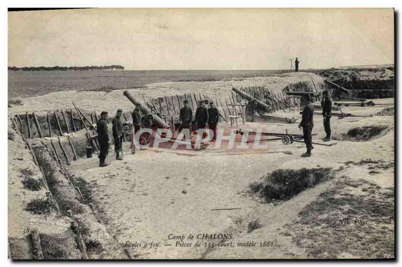 Postcard Old Army Camp Chalons Schools firearm parts 155 Short Model 1881