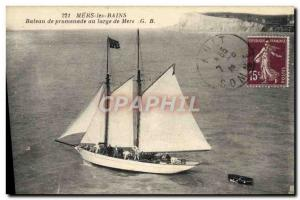 Postcard Old Boat Sailboat Mers les Bains Sightseeing boat off the seas